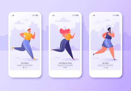 Mobile app page, screen set. Healthy lifestyle concept for website or web page. Young active people running marathon. Fitness in the city, cardio sport, outdoors training workout.