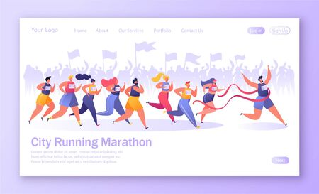 Concept of landing page on healthy lifestyle theme. Active people sports. Flat characters running marathon distance. Crowd of fans Ilustração