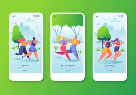 Healthy lifestyle concept for website or web page. Mobile app onboard screen template set with fitness running characters. Do sports together as a couple. Cardio, sport, training workout.