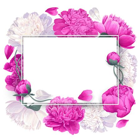 Pink, white and white peonies flowers. Create your design using these trendy element