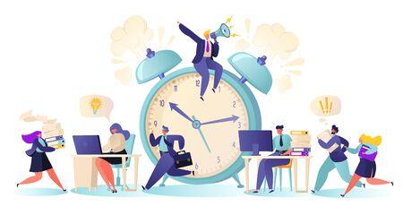 Trabajadores de oficina que trabajan horas extras en la fecha límite. Condiciones y bajo una fuerte presión de jefe. Gestión del tiempo en el camino hacia el éxito.