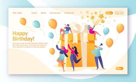 Concept of landing page with birthday celebrations theme. Birthday party celebration with friends. People love their holiday, celebrate their holiday around a big, beautiful, bright gift.