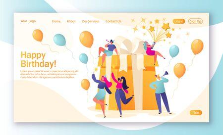 Concepto de página de destino con tema de celebraciones de cumpleaños. Celebración de la fiesta de cumpleaños con amigos. La gente ama sus vacaciones, celebra sus vacaciones con un regalo grande, hermoso y brillante. Ilustración de vector