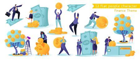 Flach, Cartoon, Vektor Illustrationssammlung. Verschiedene erfolgreiche Charaktere, die Geld verdienen. Geschäft und Finanzen, Geld sparen Thema. Karriere, Gehalt, Gewinn. Vektorgrafik