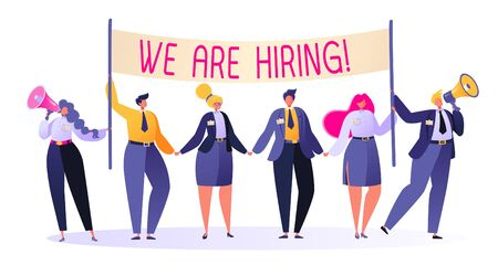 Friendly business people in search of a new employee at the vacant place. Recruitment concept, agency interview. Flat people characters invite to join their team. People holding hiring banner. Banco de Imagens - 128475532