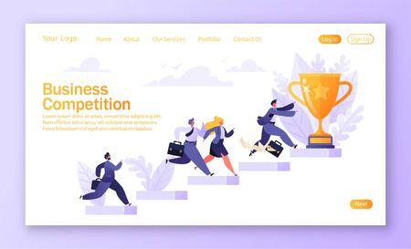 Concepto de competencia empresarial para sitio web móvil, diseño de páginas web. Camino al éxito. Grupo de diferentes empresarios que corren para lograr resultados, metas y enriquecimiento corren a la copa. Página de destino de la plantilla