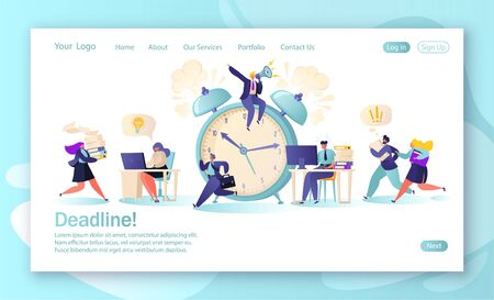 Concept of landing page with office workers and business people working overtime at Deadline. Time management on the road to success. Concept for mobile website development and web page design. Vektorové ilustrace