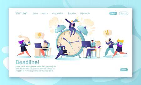 Concepto de página de destino con trabajadores de oficina y gente de negocios que trabajan horas extras en la fecha límite. Gestión del tiempo en el camino hacia el éxito. Concepto de desarrollo de sitios web móviles y diseño de páginas web. Ilustración de vector