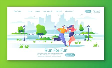 Concept of landing page on healthy lifestyle theme and fitness in the city. Man and woman characters running in the park. Happy active people doing workout outside. Couple running marathon.