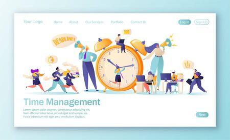 Concepto de página de destino sobre el tema de la gestión del tiempo. Plantilla para sitio web o página web con trabajadores de oficina y gente de negocios que trabajan horas extras. Gestión del tiempo en el camino hacia el éxito. Trabajo en equipo efectivo
