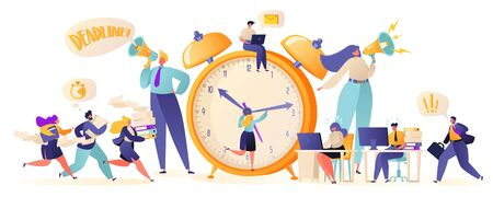 Time management on the road to success. Office workers and business people working overtime at Deadline. Flat ?artoon characters work in high stress conditions and under hard boss pressure. Stock Illustratie