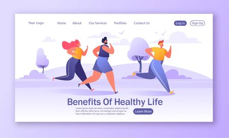 Template for website or web page with Group of cartoon, flat characters running marathon distance. Concept of landing page on healthy lifestyle, summer outdoor, sport competition theme.