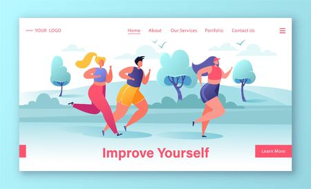Concept of landing page on City marathon and healthy lifestyle theme. Template for website or web page with group of diverse people in sports wear running on nature landscape background.