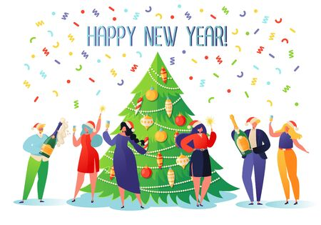 Little flat characters celebrating New Year party. Happy people in santa hat toasting champagne. Christmas event with cartoons, confetti and big, bright Christmas tree, decorated with colorful toys. Illustration