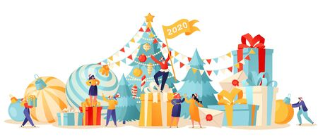 New Year trendy card. Background with small flat cartoon people characters that preparing for holiday. Bright toys for the Christmas tree, garlands and decorations. People have fun and prepare gifts.