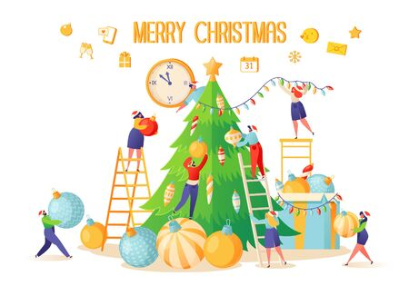 Vector illustration on theme of preparation for winter holidays. Small flat people characters decorate large, beautiful, green Christmas tree with elegant, bright and colored balls. Hang a garland.