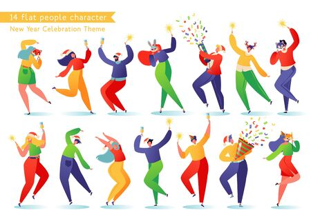 Set of young happy dancing people. People celebrate New Year or Christmas with champagne and sparklers, they are dressed wonderfully, in red Santa Claus hats and carnival animal masks. Stock Illustratie