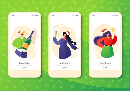 Template for mobile app, page onboard screen set on winter holidays theme. Website layout with flat people characters celebrating New Year with champagne, sparklers and toast. Concept for website.