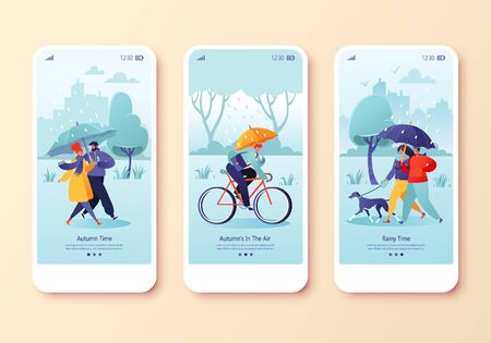 Happy people walking in autumn rain, concept for website or web page. Couple walking under umbrella, businessman rides to work on bicycle, young couple walking dog. Mobile app page onboard screen set.