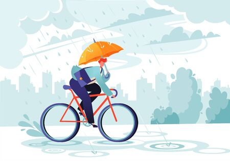Young businessman going to work under the autumn rain. Businessman with umbrella on bicycle. Responsible worker. Concept of commitment. Eco transport. Autumn time. Windy rainy day with gray clouds.