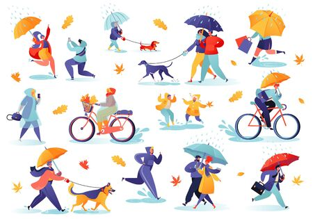 Collection of flat people characters walking under umbrella on autumn rainy day. Active people in the park. Autumn outdoor. Crowd of tiny men and women under rain or rainfall. Early warm autumn.