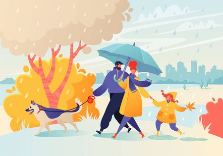 Happy young family spend joyful time together. Parent character walk in rainy weather in autumn park. Father leads a dog on a leash, mom holds hand of a daughter, she carefree jumps through puddles. 向量圖像