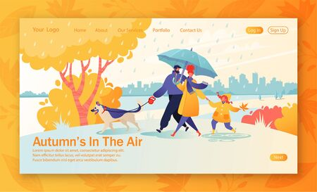 Website landing page with happy young family spend joyful time together. Father leads a dog on a leash, mom holds hand of a daughter, she carefree jumps through puddles. Rainy weather in autumn park. Иллюстрация