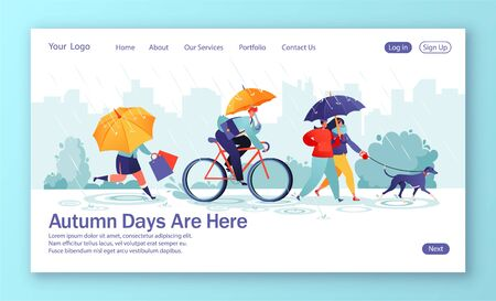 Concept of landing page with flat people characters walking under umbrella on autumn rainy day. Complete walks dog, woman run with shopping purchases, businessman riding bicycle.Template for web design