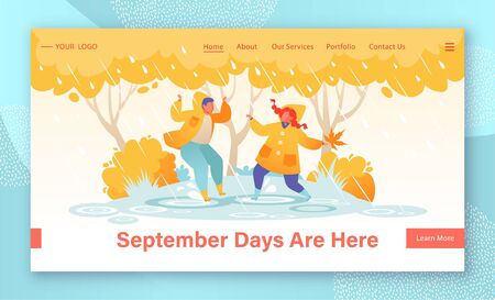 Website landing page tamplate with joyful, flat, kids characters. Children jumping in puddles, rubber boots and yellow raincoats. On background of autumn trees in park. Web page banner, web design. Illusztráció