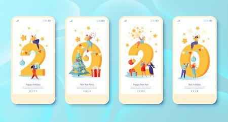 New Year 2020 concept for Mobile app page, onboard screen set. People prepare gifts for each other, celebrate, drink champagne, launch fireworks, blowing whistles and pipes, explode crackers.