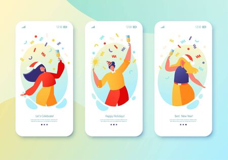 Concept for website or web page on winter holidays theme. Website layout with flat people characters celebrating New Year, drink champagne, hold sparklers, dancing. Mobile app page, screen set.
