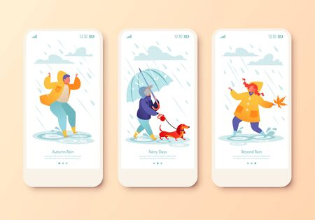 Mobile app page, onboard screen set with kids characters jumping in puddles dressed in rubber boots and yellow raincoats, little boy walking a dachshund under transparent umbrella. Concept for Website Illustration