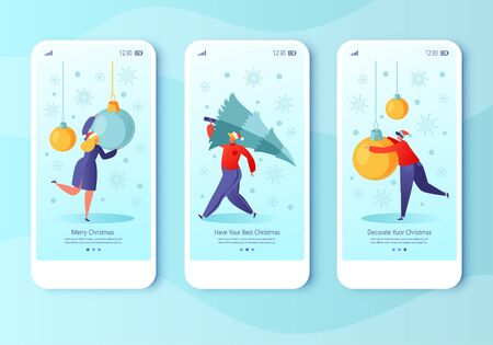 New Year concept for mobile app page, onboard screen set. People getting ready for the holiday. They carry a Christmas tree, hang decorations. Characters in anticipation of the holiday.