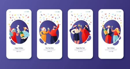 Concept for website or web page on winter holidays theme. Website layout with flat people characters celebrating New Year, drink champagne clink glasses, hold sparklers. Mobile app page, screen set.