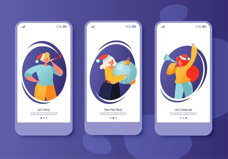 Screen set collection for mobile app page on winter holidays theme. Website layout with flat people characters celebrating New Year. People with pipes and whistles Christmas balls toys. 写真素材 - 129834091