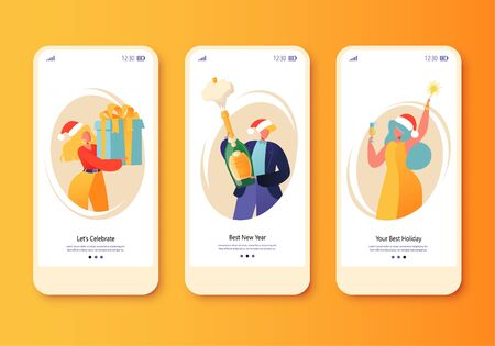 Happy New Year holiday celebration concept for mobile app page, onboard screen set. Cheerful people give gifts, open champagne and hold sparklers. Concept for website, web, homepage, landing page. 일러스트