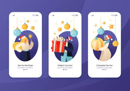 Happy New Year holiday celebration concept for mobile app page, onboard screen set. Cheerful people give gifts, hold sparklers and toys for christmass tree. Concept for website, web, homepage.