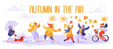 Cute autumn illustration with happy kids playing outdoors. Autumn season. Boy walks with dog. Children in raincoats and rubber boots jump in puddles. Girl found mushroom, boy throws up foliage. Illustration