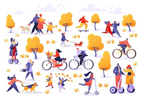 Active people in the park. Autumn outdoor. Man and woman characters running, riding bicycle and hoverboard, skateboarding. Young family walks dog, children play in autumn park and walk with pets.