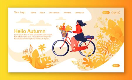 Healthy lifestyle concept for mobile website, web page. Bicycle riding woman. Autumn park on background. Flat, cartoon, trendy illustration. Concept of landing page, homepage, tamlate for web design.