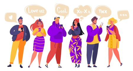 Social networking, media, virtual relationships concept. Flat cartoon characters chatting via internet using smartphone. Group of modern young people, students, pupils or millennials chatting.