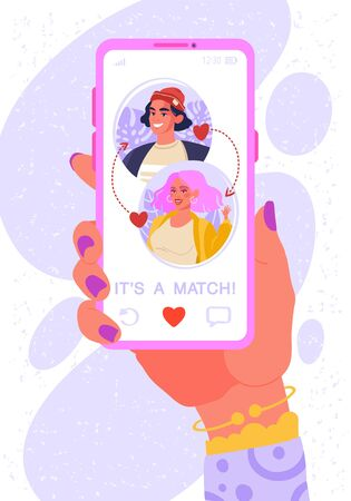 Online dating app concept on phone screen. Female hand with smartphone. Two young people liked each other. Their interest coincided. Now they can chat and go on date in real life, cause IT'S A MATCH.