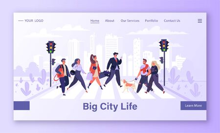 Template for landing page with trendy, vector illustration depicting vibrant life in a big metropolis. Pedestrians walking on city street. People moving by road on background with urban skyscrapers. Ilustração