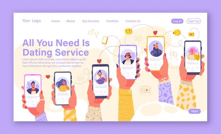 Online dating service application template. Concept for landing page on social media, virtual relationship communication theme. Web page design. Hands holding smartphone with man and woman profiles. Illustration