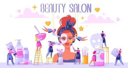 Concept of beauty salon and care cosmetics. Small flat people serve a client. Apply mask, put patches under eyes. Mix ingredients for masks and make cleaning and facial massage with special tools.
