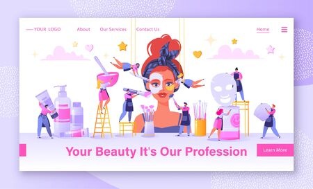 Concept of landing page on beauty salon and care cosmetics theme. Small flat people serve a client. Apply mask, put patches under eyes. Mix ingredients for masks and make cleaning and facial massage.