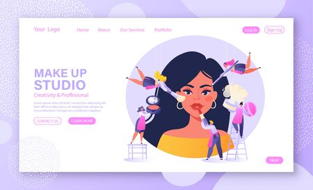 Template for landing page with beauty salon concept. Little flat people characters are makeup artist, stylist and browmaker. They serve a client using decorative cosmetics. Girl in make up studio.