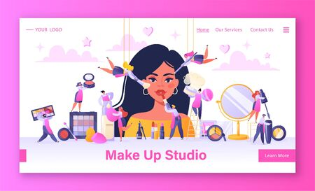 Concept of landing page on beauty salon, service industry, makeup studio theme. Template for website or web page with flat people characters applying decorative cosmetics on a womans face.