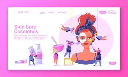 Concept of landing page on beauty salon and care cosmetics theme. Template for website, web page with little flat people serve a client. Apply mask, put patches under eyes. Mix ingredients for masks.