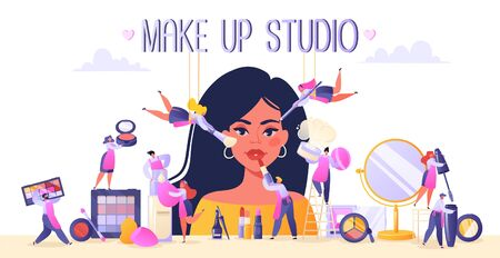 Concept of beauty salon, service industry, makeup artist, stylist, browmaker profession. Girl in make up studio. Small flat people characters serve a client using decorative cosmetics.